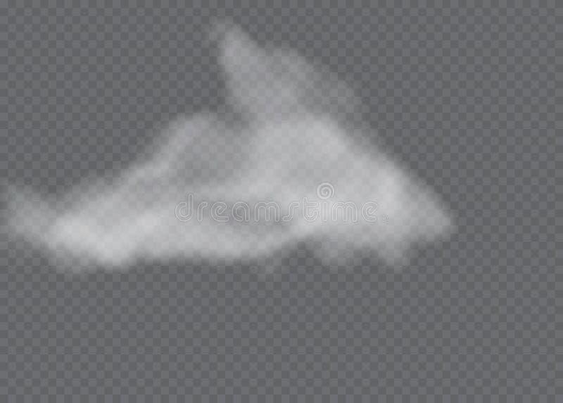 L'effet sp?cial transparent se tient avec le brouillard ou la fum?e Vecteur blanc, brouillard ou brouillard enfum? de nuage illustration libre de droits