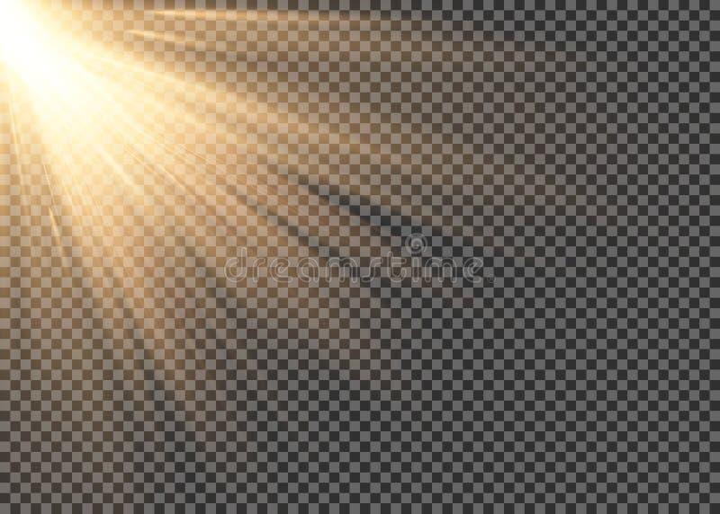 L'effetto speciale leggero del chiarore con i raggi di luce e di magia scintilla Insieme trasparente di effetto della luce di vet illustrazione di stock