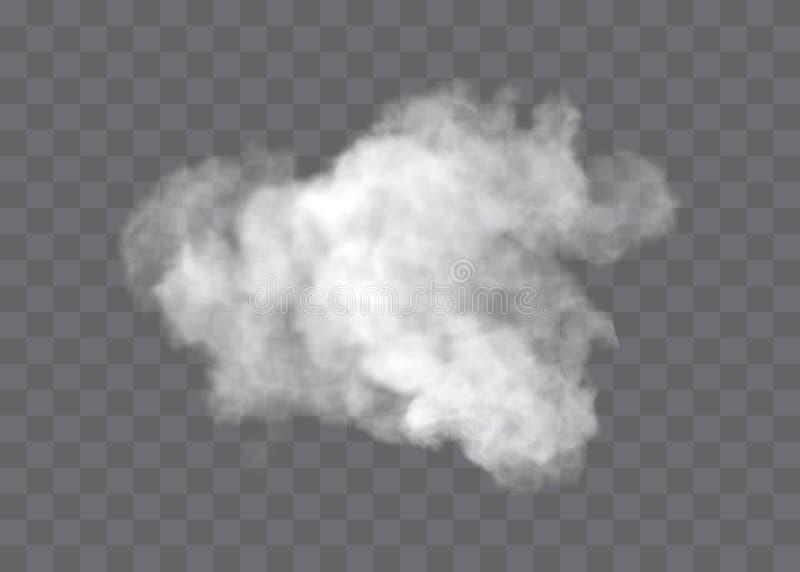 L'effetto speciale trasparente sta fuori con nebbia o fumo Vettore bianco, nebbia o smog della nuvola illustrazione vettoriale
