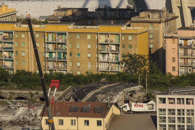 L'effondrement du pont de Morandi à Gênes le 14 août 2018 photo stock