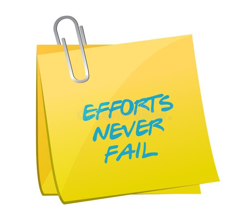 L'effort n'échouent jamais la conception d'illustration de courrier illustration de vecteur