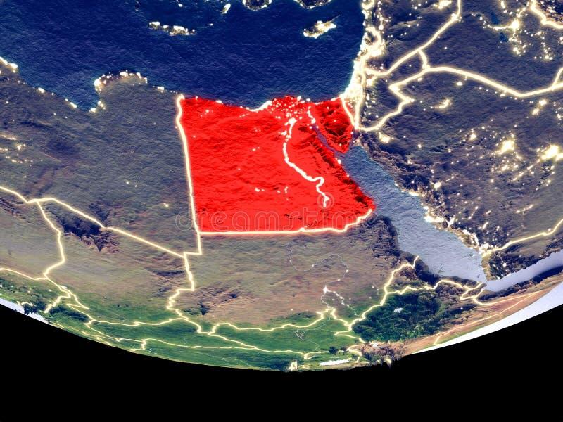 L'Egitto alla notte da spazio fotografia stock