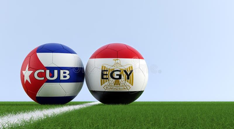 L'Egitto contro Partita di calcio di Cuba - palloni da calcio nei colori nazionali di Cuba e dell'Egitto su un campo di calcio illustrazione di stock