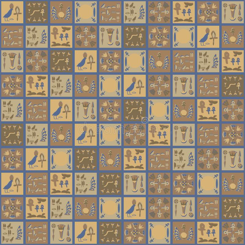 L'Egiziano quadrato di vettore orna il mare piega orientale del ricordo della domestica della mano del mosaico di verdure grigio  illustrazione vettoriale