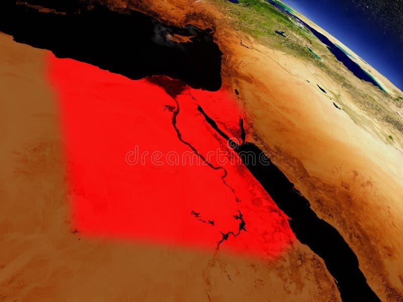 Download L'Egypte De L'espace Accentué En Rouge Illustration Stock - Illustration du astronomie, satellite: 77161209