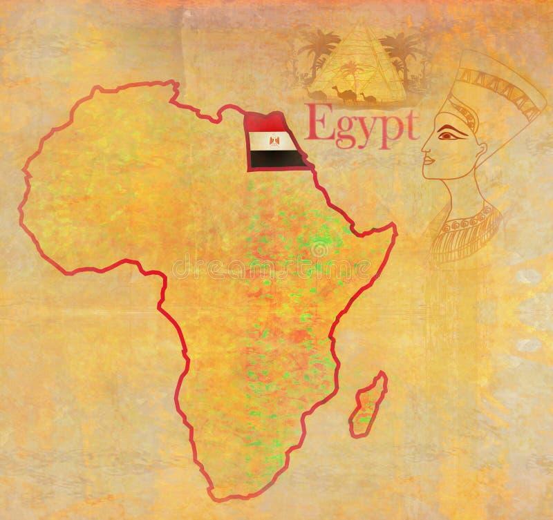 L'Egypte sur la carte politique de vintage réel de l'Afrique illustration libre de droits
