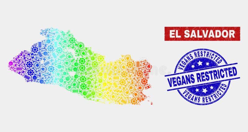 L'EL composant Salvador Map et Vegans grunges de spectre a limité des timbres illustration de vecteur