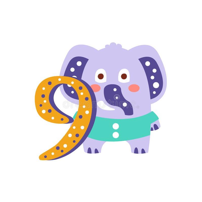 L'elefante che sta accanto al numero nove ha stilizzato l'animale funky illustrazione vettoriale