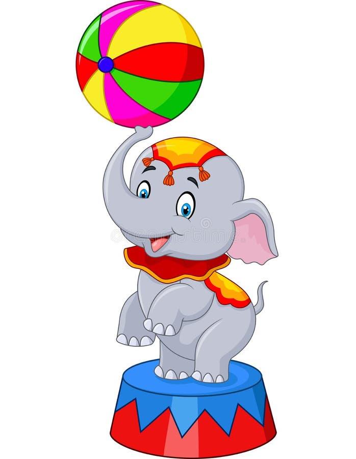 L'elefante del circo con una palla a strisce sta su un podio isolato illustrazione di stock
