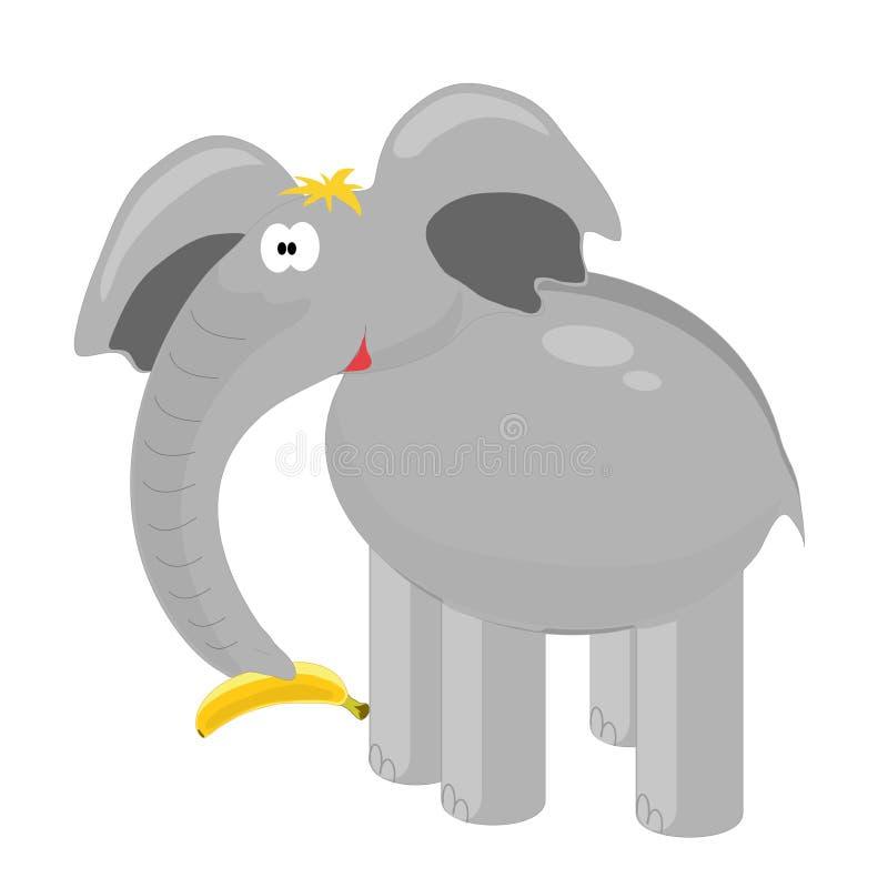 L'elefante divertente tiene una banana su un fondo bianco royalty illustrazione gratis