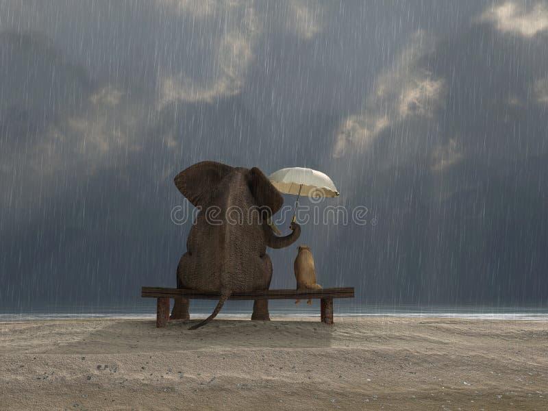 L'elefante ed il cane si siedono sotto la pioggia illustrazione vettoriale