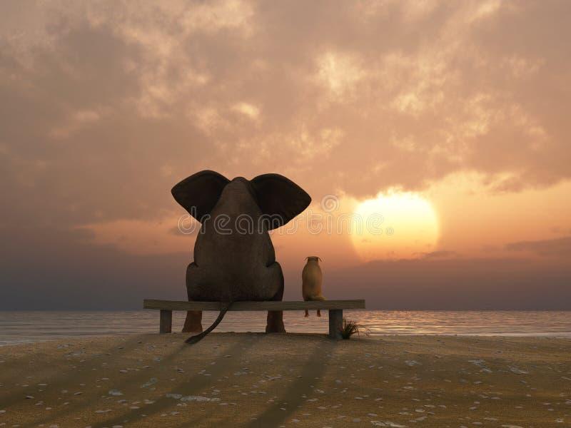 L'elefante ed il cane si siedono su una spiaggia illustrazione vettoriale