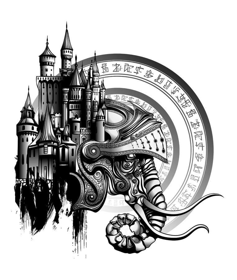 L'elefante nel casco ha fuso con il castello medievale illustrazione vettoriale