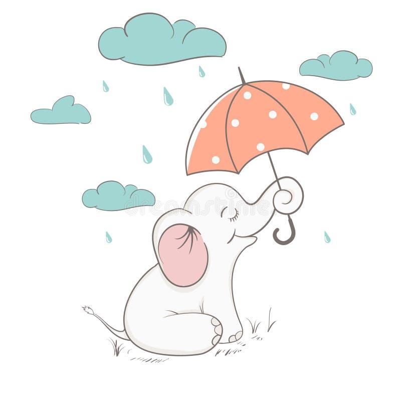 L'elefante sveglio tiene un ombrello illustrazione di stock