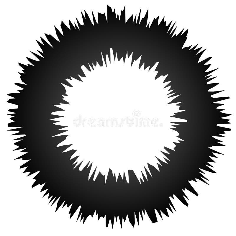 L'elemento astratto grungy approssimativo del cerchio, circolare ha distorto l'anello, d illustrazione vettoriale