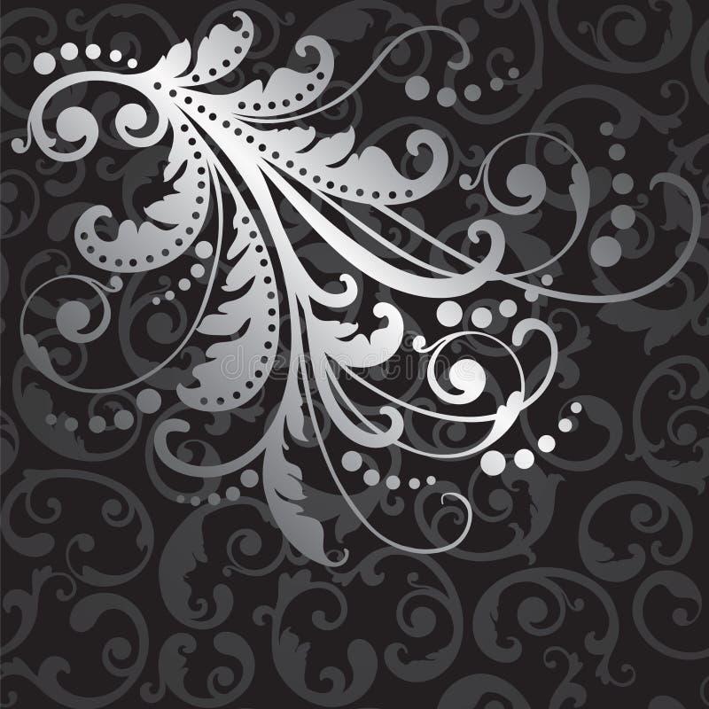 L'elemento d'argento floreale di progettazione sul nero turbina modello illustrazione di stock