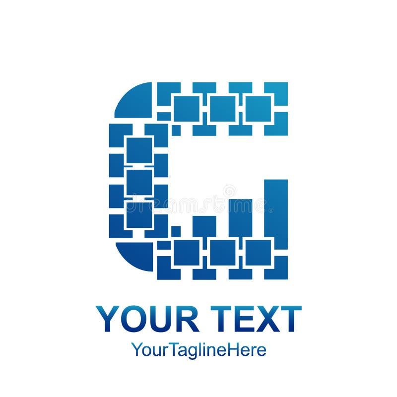 L'elemento del modello di progettazione di logo di G della lettera iniziale ha colorato il pixel blu illustrazione di stock