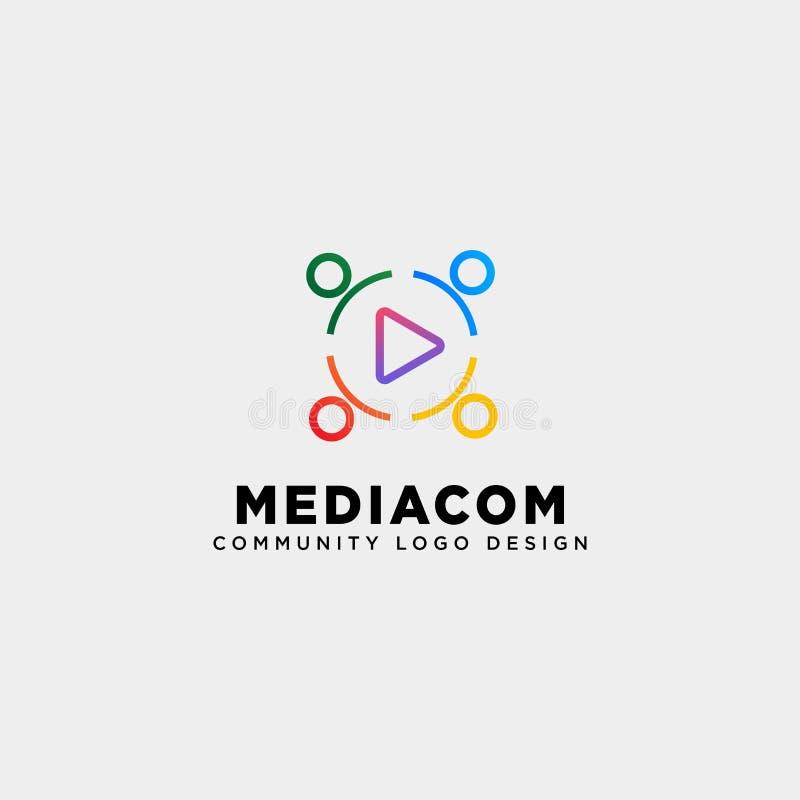 l'elemento dell'icona dell'illustrazione di vettore del modello di logo della comunità del tasto di riproduzione ha isolato illustrazione di stock
