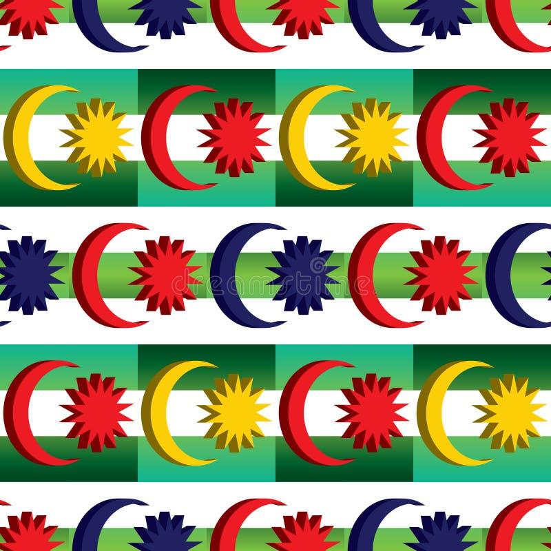 l'elemento della bandiera di 3d Malesia combina il modello senza cuciture di simmetria diagonale verde malese di colore illustrazione di stock