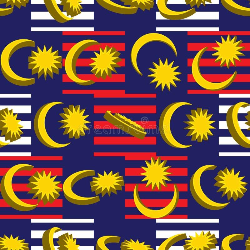 l'elemento della bandiera di 3d Malesia gira il modello senza cuciture di simmetria di giro illustrazione di stock