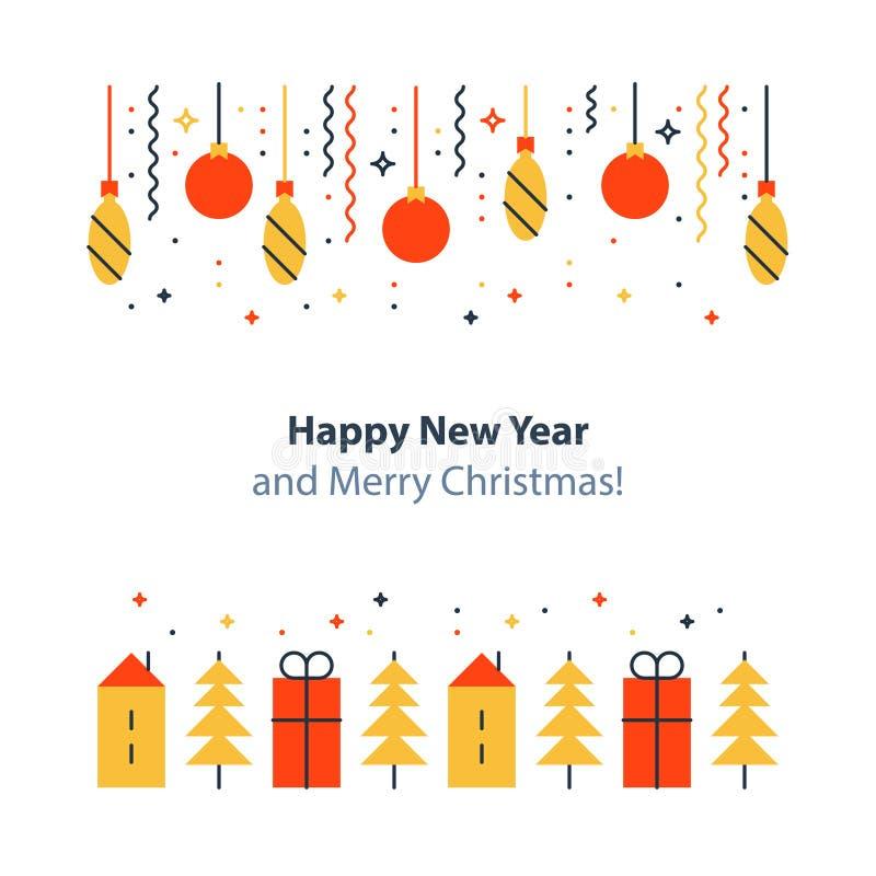 L'elemento della decorazione del nuovo anno, le vacanze invernali il fondo, la celebrazione di Natale, cartolina festiva, vector  illustrazione di stock