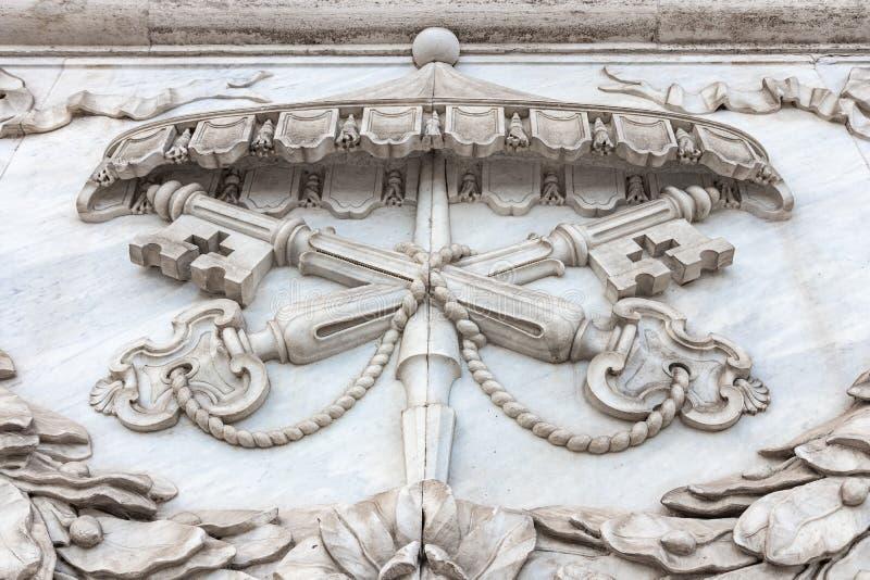 L'elemento di marmo della decorazione della basilica di San Giovanni papale fotografia stock