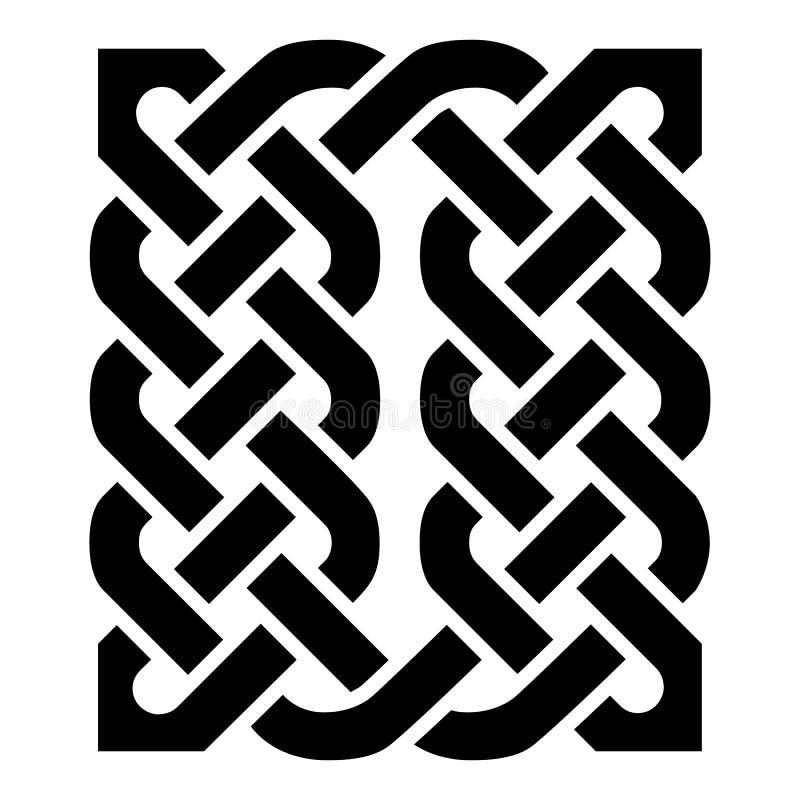 L'elemento di stile celtico di rettangolo basato sui modelli di nodo di eternità nel nero su fondo bianco ha ispirato entro il gi illustrazione vettoriale