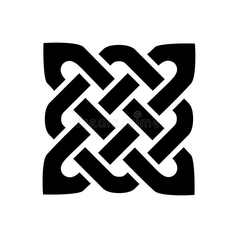 L'elemento quadrato di stile celtico di forma basato sui modelli di nodo di eternità nel nero su fondo bianco ha ispirato entro i royalty illustrazione gratis
