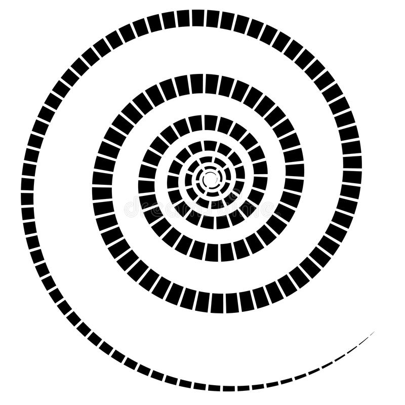 L'elemento a spirale nero con tratteggiato/ha segmentato la linea su bianco illustrazione di stock