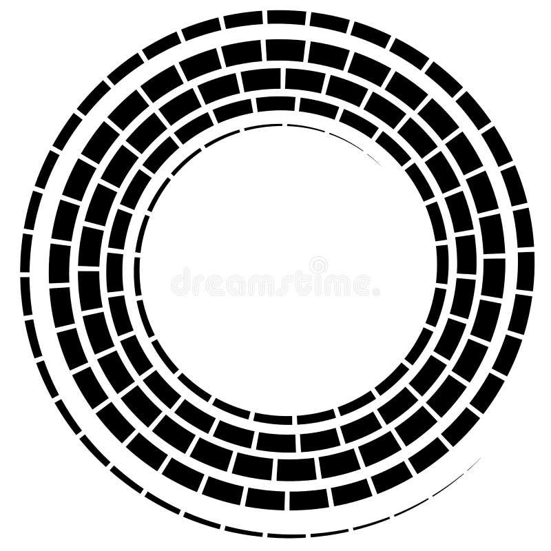 L'elemento a spirale nero con tratteggiato/ha segmentato la linea su bianco royalty illustrazione gratis