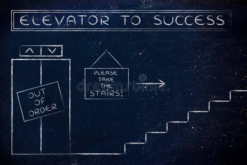 L'elevatore guastato a successo, prende prego le scale fotografie stock libere da diritti