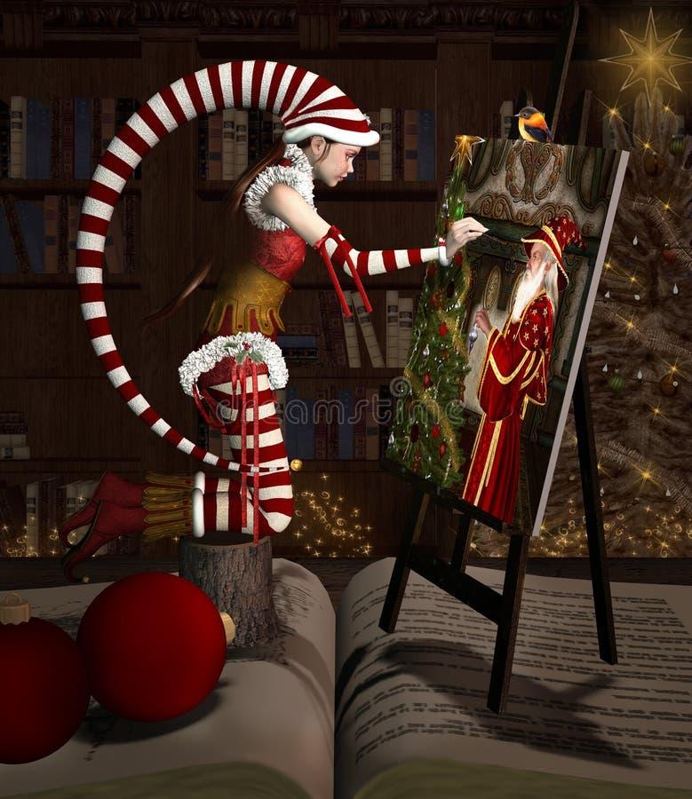L'elfe de Noël peint un portrait de Santa Claus illustration de vecteur