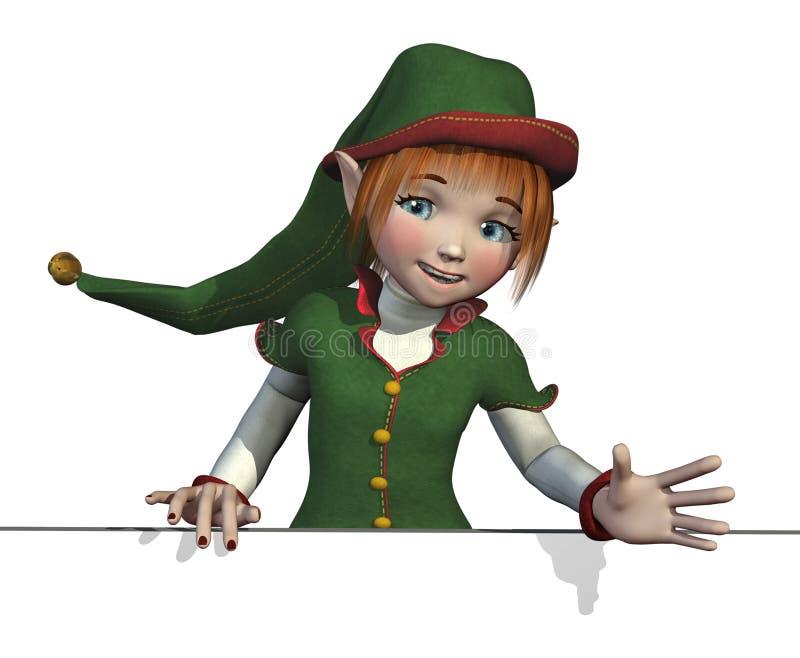 L'elfe de Santa avec le bord de signe illustration libre de droits