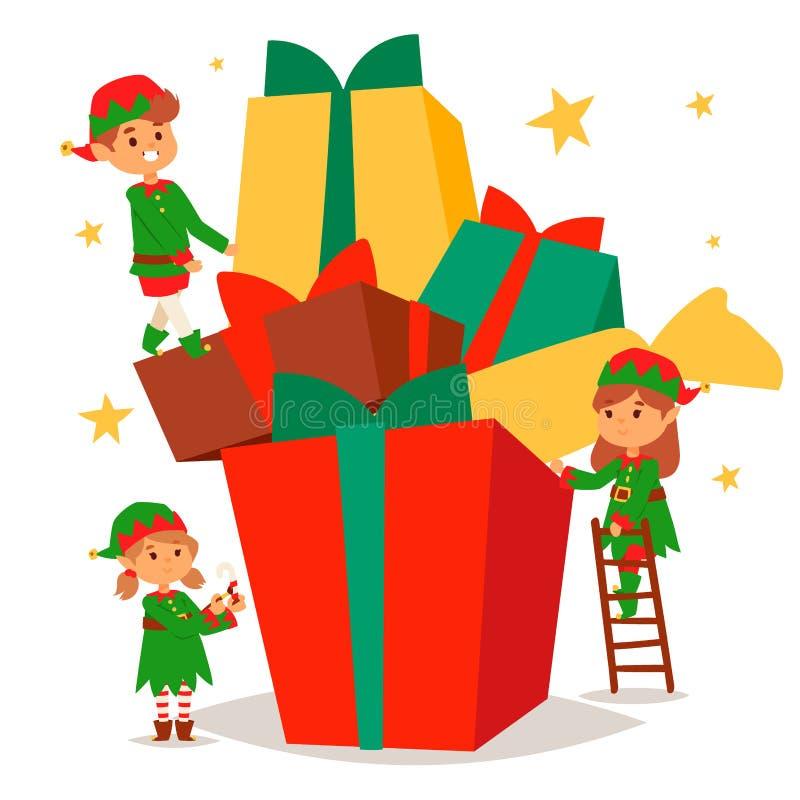 L'elfe de Santa Claus badine le costume traditionnel de caractères d'elfes d'enfants d'illustration de Noël de vecteur d'aides d' illustration stock
