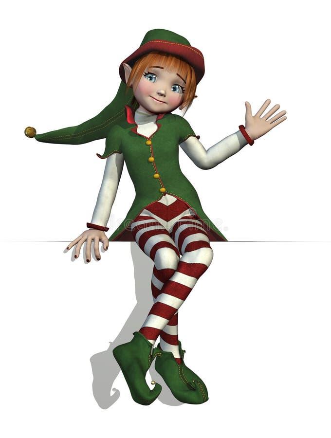 L'elfe de Santa se reposant sur un bord illustration libre de droits