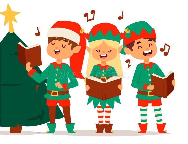 L'elfo di Santa Claus scherza il costume tradizionale dei caratteri degli elfi dei bambini dell'illustrazione di natale di vettor illustrazione di stock