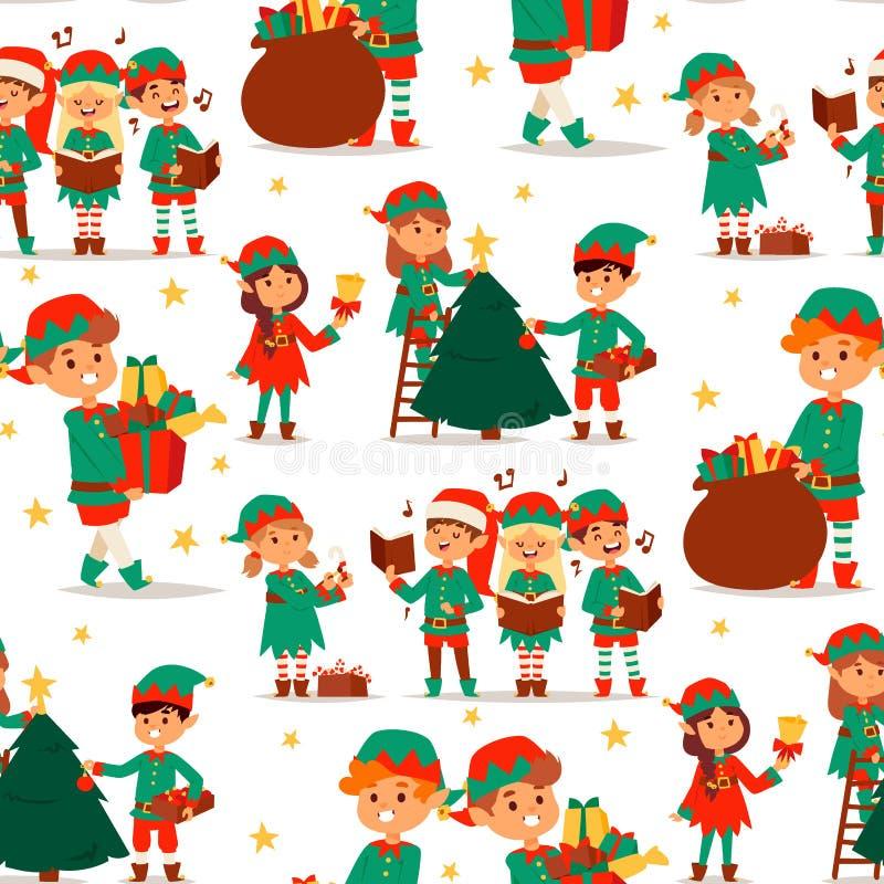 L'elfo di Santa Claus scherza il costume tradizionale dei caratteri degli elfi dei bambini dell'illustrazione di vettore degli as illustrazione vettoriale