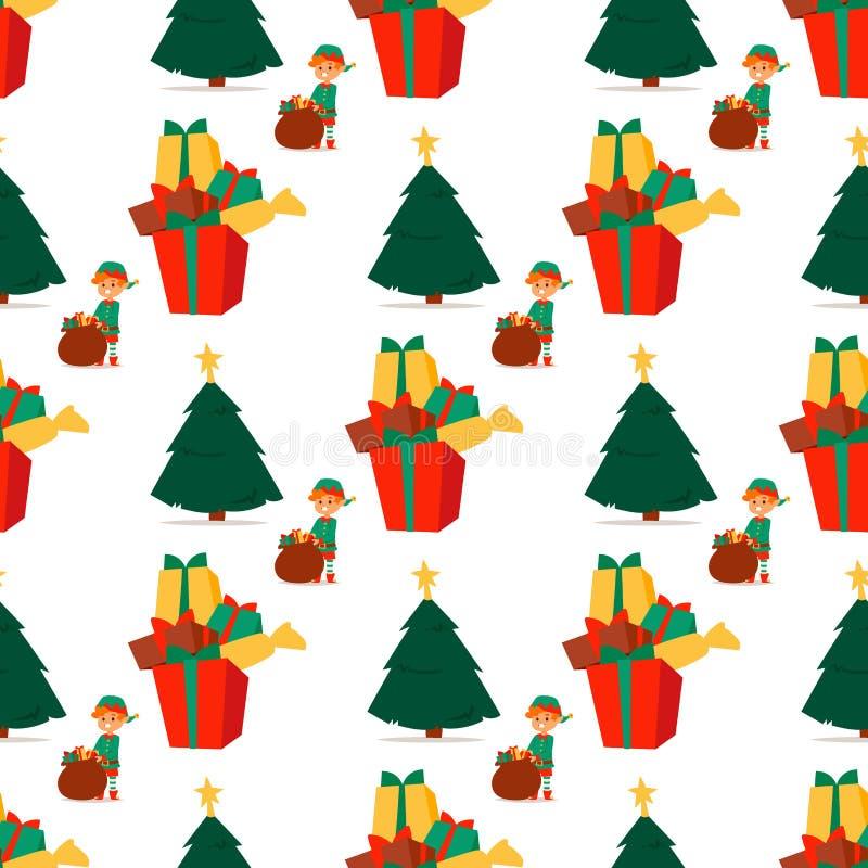 L'elfo di Santa Claus scherza il costume tradizionale dei caratteri degli elfi dei bambini dell'illustrazione di vettore degli as royalty illustrazione gratis