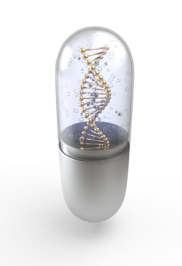 L'elica del DNA dentro la pillola incapsula l'illustrazione diritta 3d illustrazione vettoriale