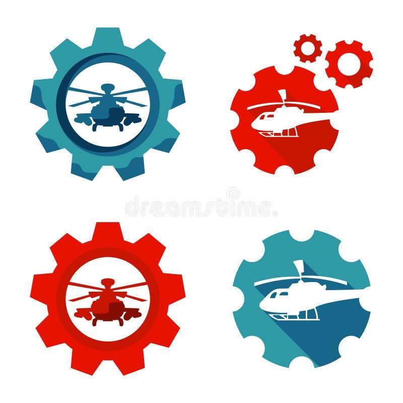 L'elicottero Chopper Gear Machine Mechanic Symbol ha isolato illustrazione vettoriale
