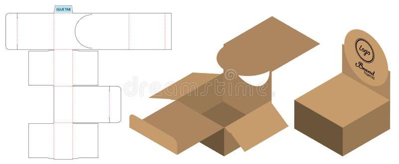 L'emballage de boîte a découpé la conception avec des matrices de calibre maquette 3d illustration de vecteur