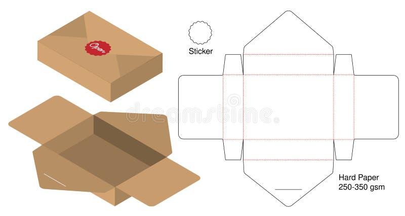 L'emballage de boîte a découpé la conception avec des matrices de calibre maquette 3d illustration libre de droits