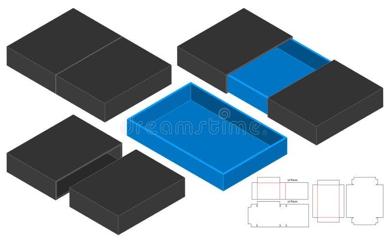 L'emballage de bo?te a d?coup? la conception avec des matrices de calibre maquette 3d illustration libre de droits