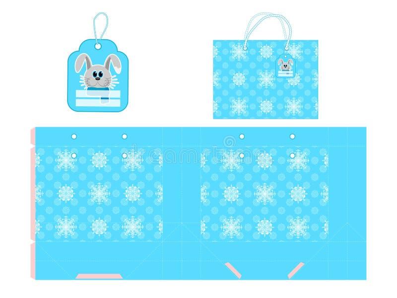 L'emballage de nouvelle année Paquet de cadeau de papier de calibre Fond avec des flocons de neige Illustration de vecteur illustration stock