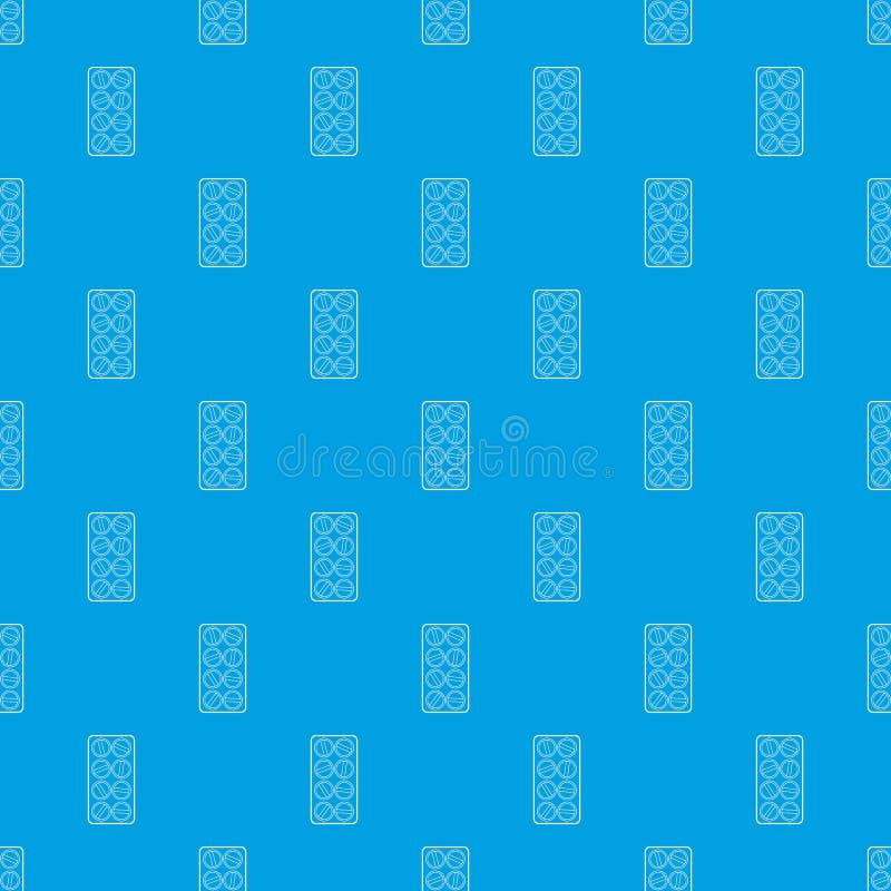 L'emballage des comprimés ronds modèlent le bleu sans couture de vecteur illustration de vecteur