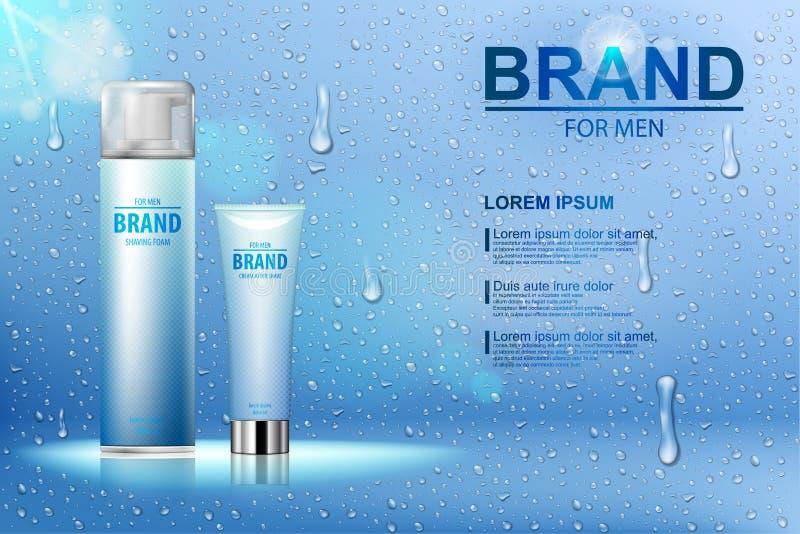 L'emballage du cosmétique après crème de rasage et de la mousse de rasage sur un fond bleu avec de l'eau chute Vecteur réaliste illustration libre de droits