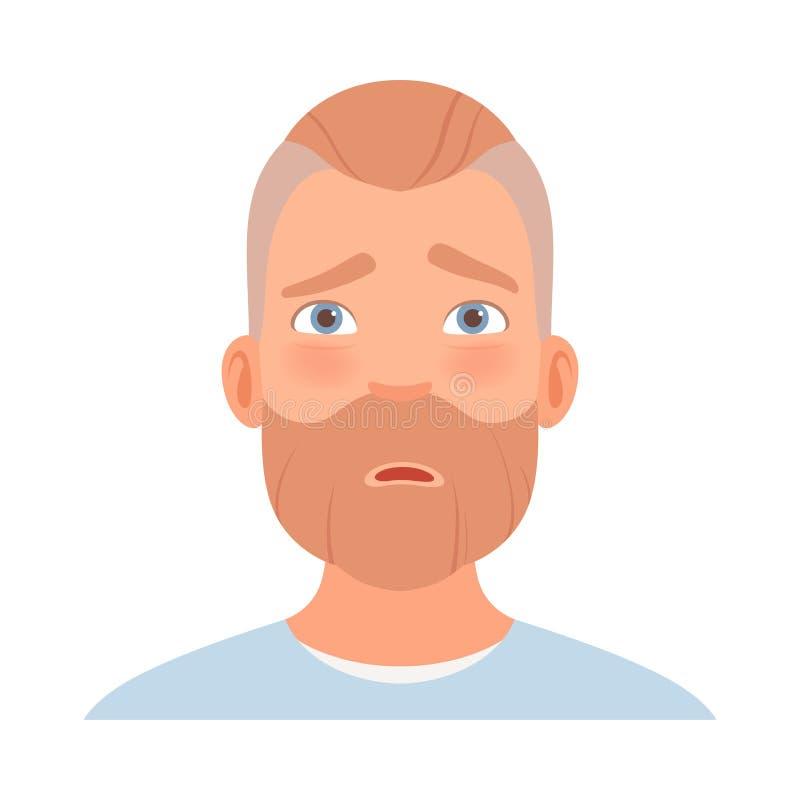 L'embarras du visage d'un homme à la barbe Illustration vectorielle illustration de vecteur