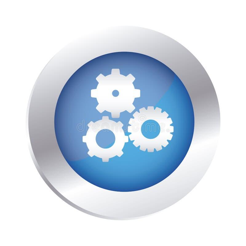 l'emblème circulaire de couleur avec des pignons a placé l'icône illustration stock