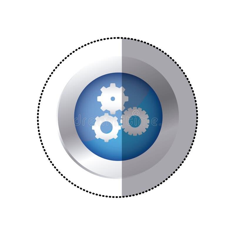 l'emblème circulaire de couleur d'autocollant avec des pignons a placé l'icône illustration libre de droits