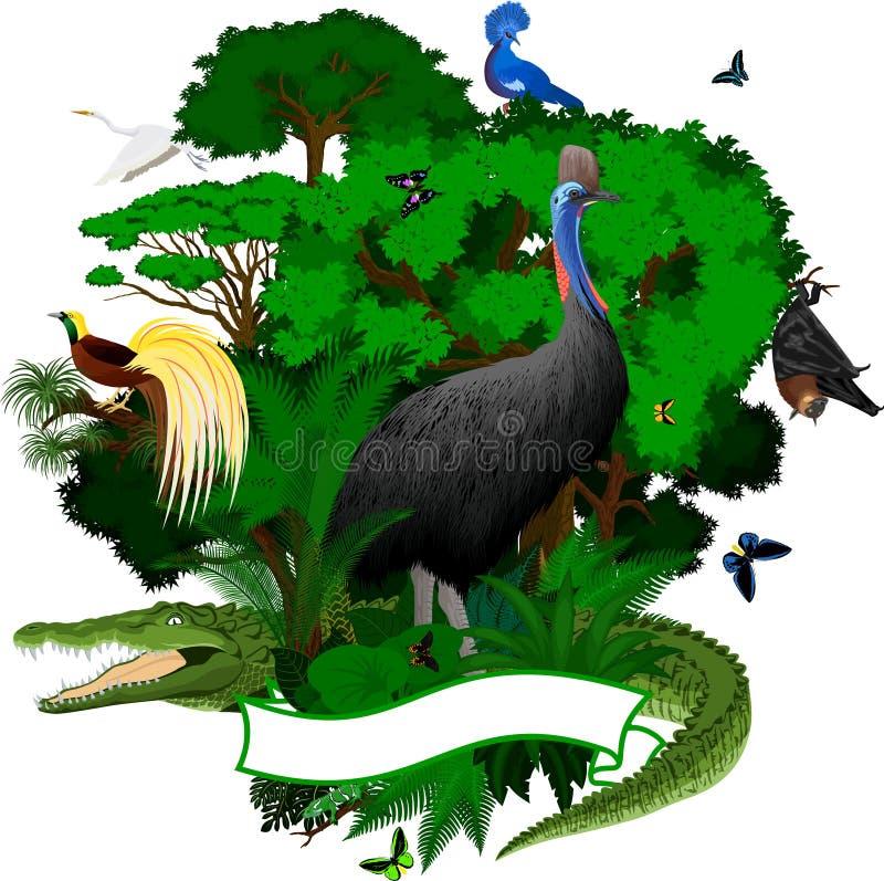 L'emblème de jungle de la Papouasie-Nouvelle-Guinée de vecteur avec le crocodile, chauve-souris de fruit, Victoria a couronné le  illustration stock